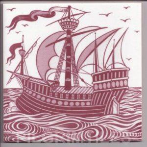 William De Morgan Red & White Galleon