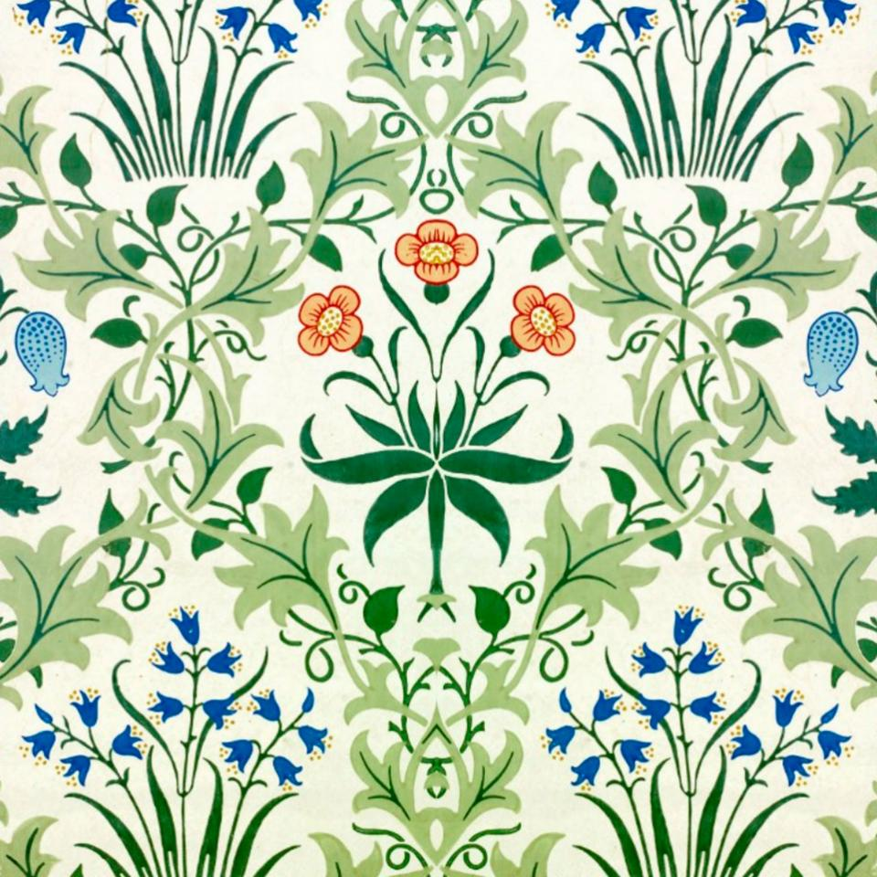 William Morris Bluebell Arts Crafts Pilgrim Tiles