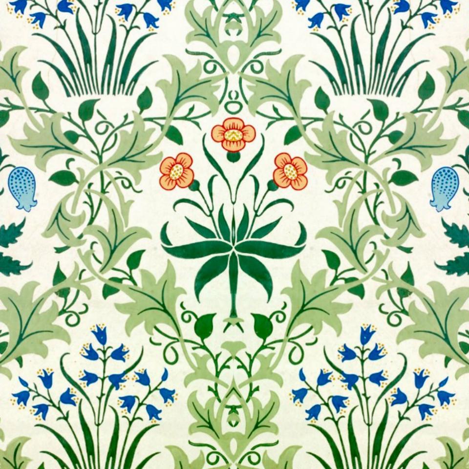 William Morris Bluebell Arts Crafts Pilgrim Tiles