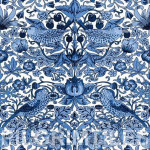 William Morris Strawberry Thief White and Blue