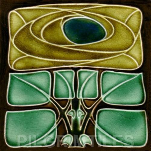 12 Art Nouveau Bold Mackintosh Style Rose Ceramic