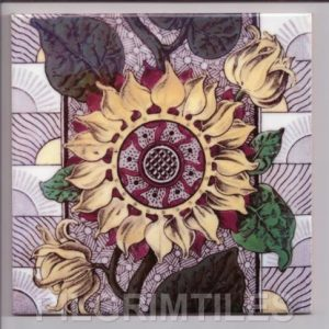 Coloured Sunflower Arts and Crafts tile