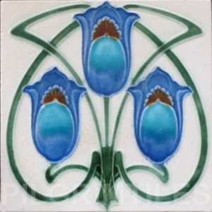 Art Nouveau  Stylised Flower Tile ref 065