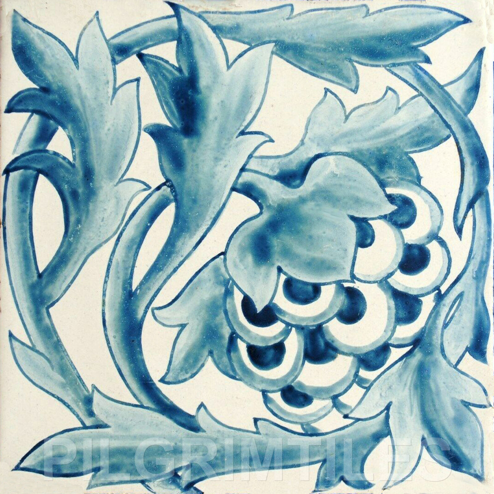 William Morris Artichoke Ceramic or Porcelain Tile Fire Wall Floor Bath blue