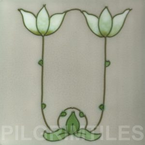 Art Nouveau  Stylised Flower Tile ref an 81