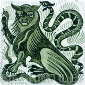 William De Morgan Lion and Serpent Tile