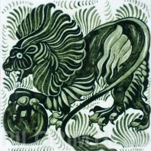 William De Morgan Lion and Ball Tile