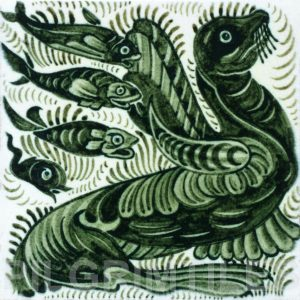 William De Morgan Sea Lion and Fish Tile