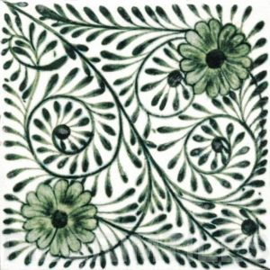 William De Morgan Flower Swirl Tile