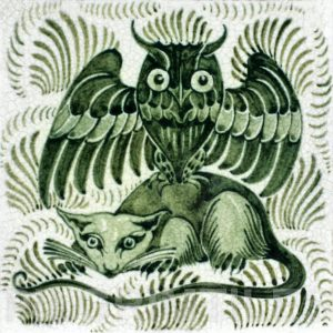 William De Morgan Owl and Rat Tile