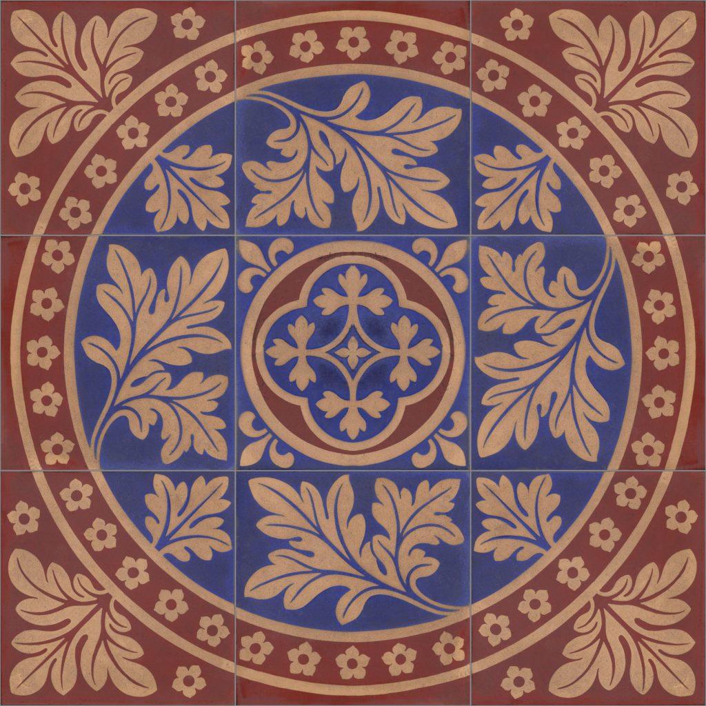 Gothic Minton Style Kiln Fired Ceramic or Porcelain 9 Tile Mural Backsplash