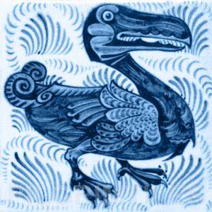 William De Morgan Dodo Tile Red Blue