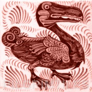 William De Morgan Dodo Tile Red
