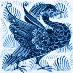 William De Morgan Exotic Bird Tile Blue