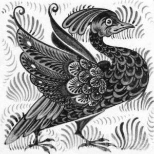 William De Morgan Exotic Bird Tile Grey
