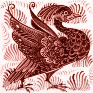 William De Morgan Exotic Bird Tile Red