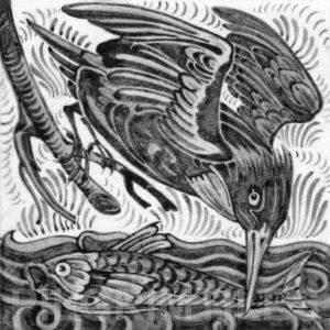 William De Morgan Kingfisher Tile Grey