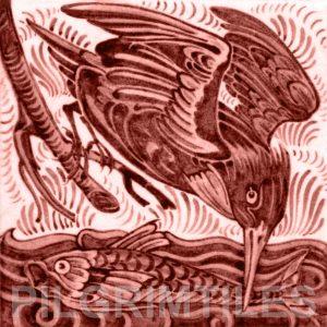William De Morgan Kingfisher Tile Red
