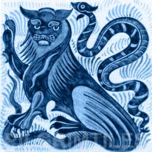 William De Morgan Lion and Serpent Tile Blue