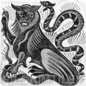 William De Morgan Lion and Serpent Tile Grey