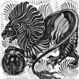 William De Morgan Lion and Ball Tile Grey