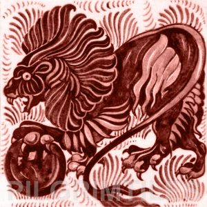 William De Morgan Lion and Ball Tile Red