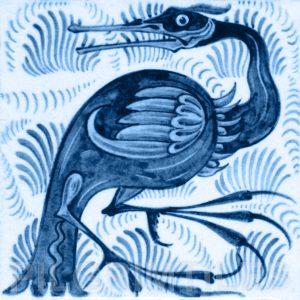 William De Morgan Long Billed Bird Tile Blue