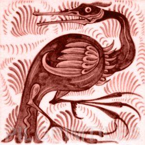 William De Morgan Long Billed Bird Tile Red
