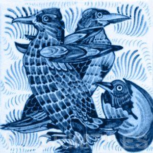 William De Morgan Penguins Tile Blue
