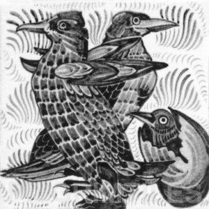 William De Morgan Penguins Tile Grey