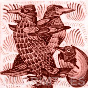 William De Morgan Penguins Tile Red