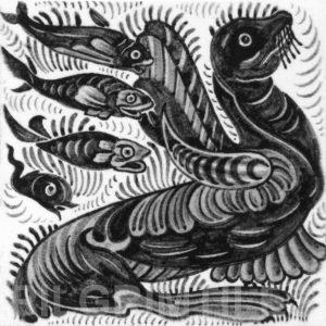 William De Morgan Sea Lion and Fish Tile Grey