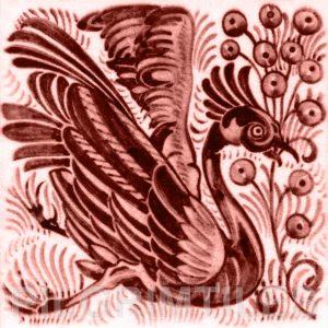 William De Morgan Exotic Bird and Fruit Tile Red