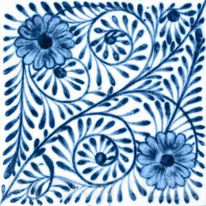 William De Morgan Flower Swirl Tile Blue