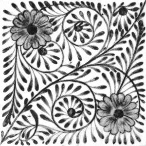 William De Morgan Flower Swirl Tile Grey