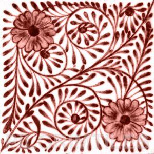 William De Morgan Flower Swirl Tile Red
