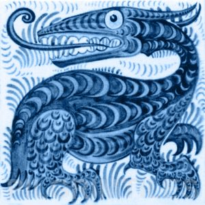William De Morgan Long Tongued Beast Tile Blue