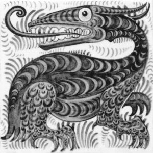 William De Morgan Long Tongued Beast Tile Grey