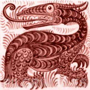 William De Morgan Long Tongued Beast Tile Red