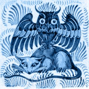 William De Morgan Owl and Rat Tile Blue