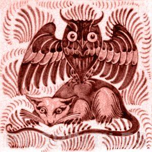 William De Morgan Owl and Rat Tile Red