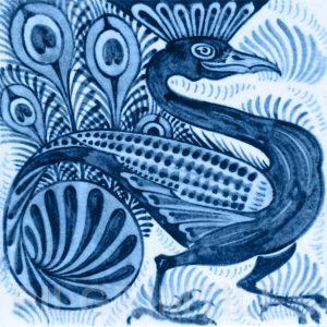 William De Morgan Peacock Tile Blue