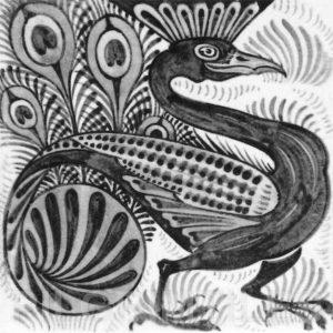 William De Morgan Peacock Tile Grey